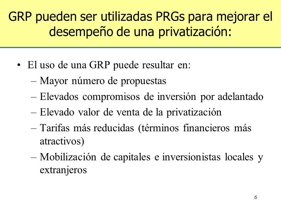 GRP pueden ser utilizadas PRGs para mejorar el desempeño de una privatización: