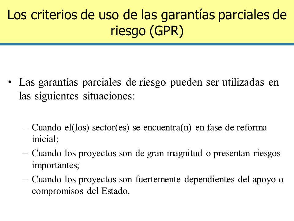 Los criterios de uso de las garantías parciales de riesgo (GPR)