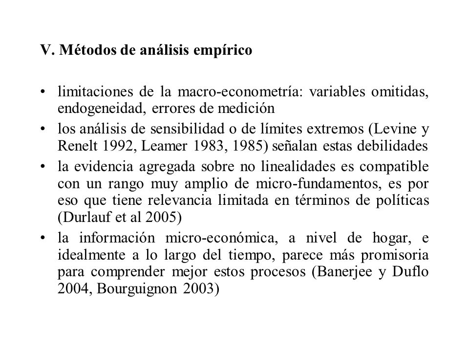 V. Métodos de análisis empírico