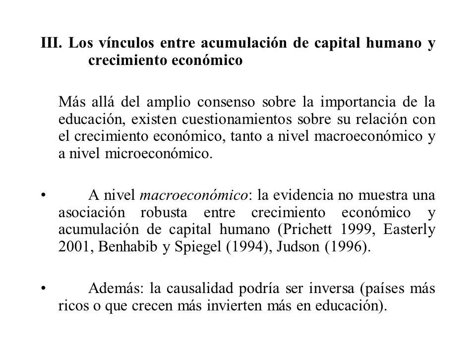 III. Los vínculos entre acumulación de capital humano y