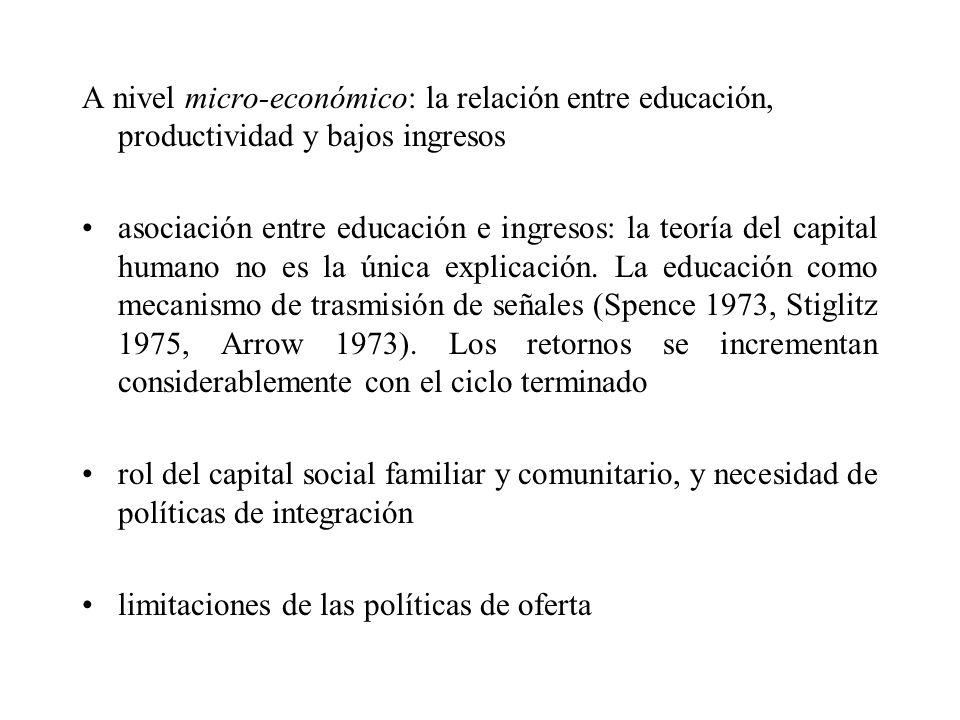 A nivel micro-económico: la relación entre educación, productividad y bajos ingresos