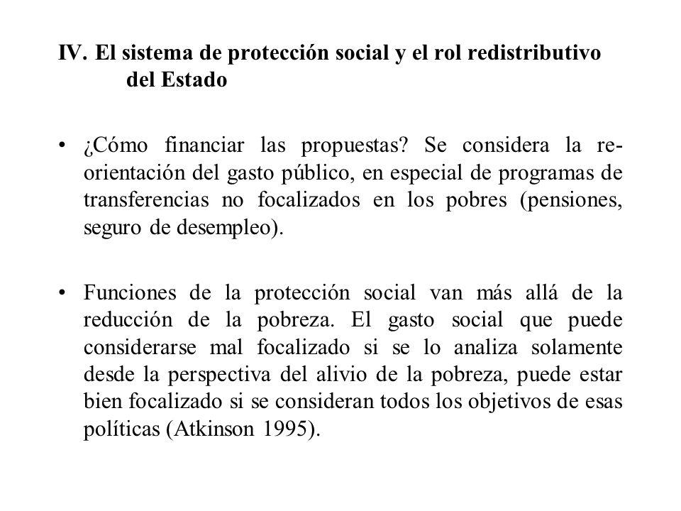 IV. El sistema de protección social y el rol redistributivo del Estado