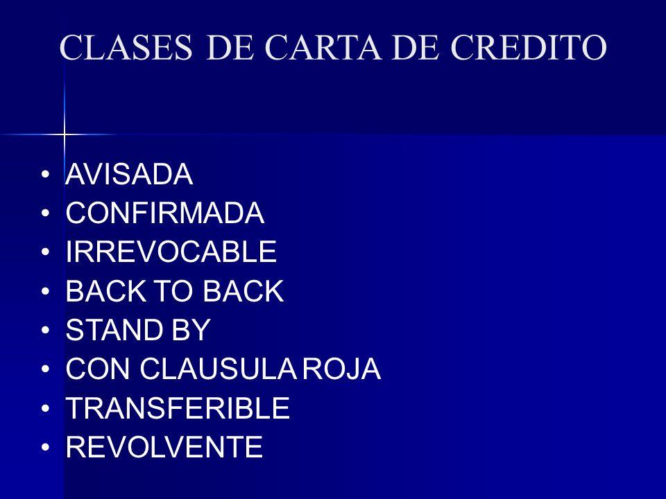 CLASES DE CARTA DE CREDITO