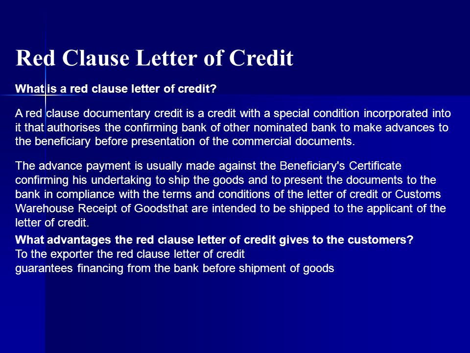 Red Clause Letter of Credit