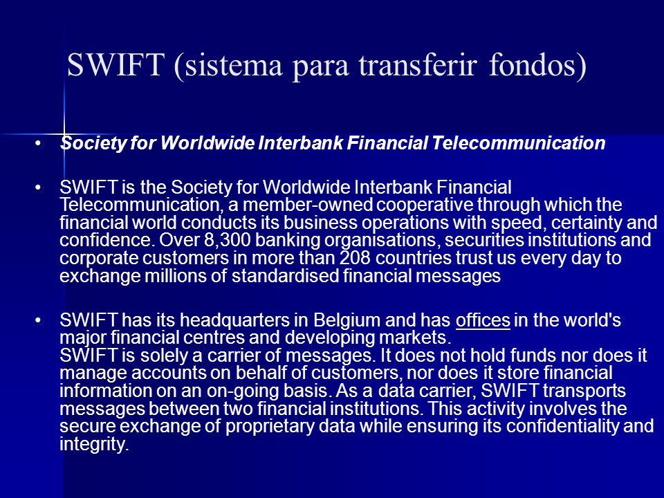 SWIFT (sistema para transferir fondos)