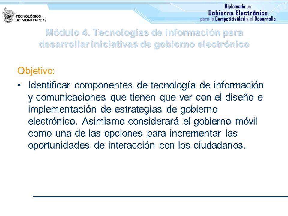 Módulo 4. Tecnologías de información para desarrollar iniciativas de gobierno electrónico