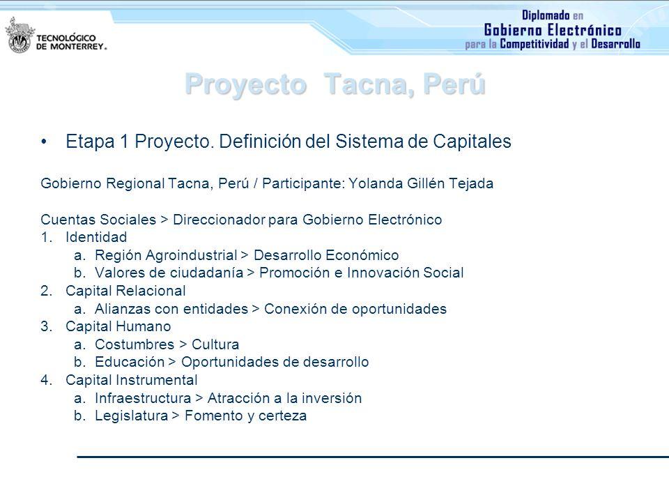 Proyecto Tacna, PerúEtapa 1 Proyecto. Definición del Sistema de Capitales. Gobierno Regional Tacna, Perú / Participante: Yolanda Gillén Tejada.