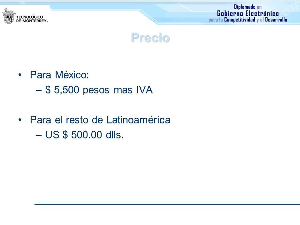 Precio Para México: $ 5,500 pesos mas IVA