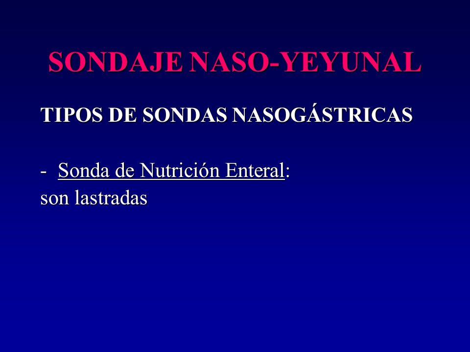 SONDAJE NASO-YEYUNAL TIPOS DE SONDAS NASOGÁSTRICAS