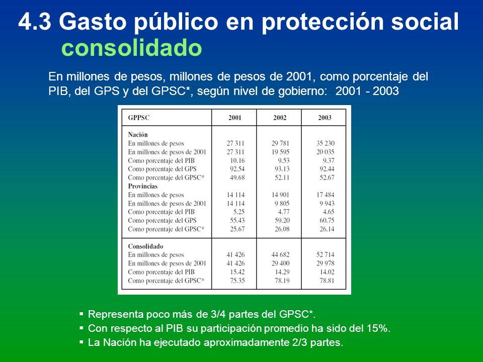 4.3 Gasto público en protección social consolidado
