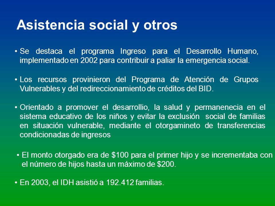 Asistencia social y otros