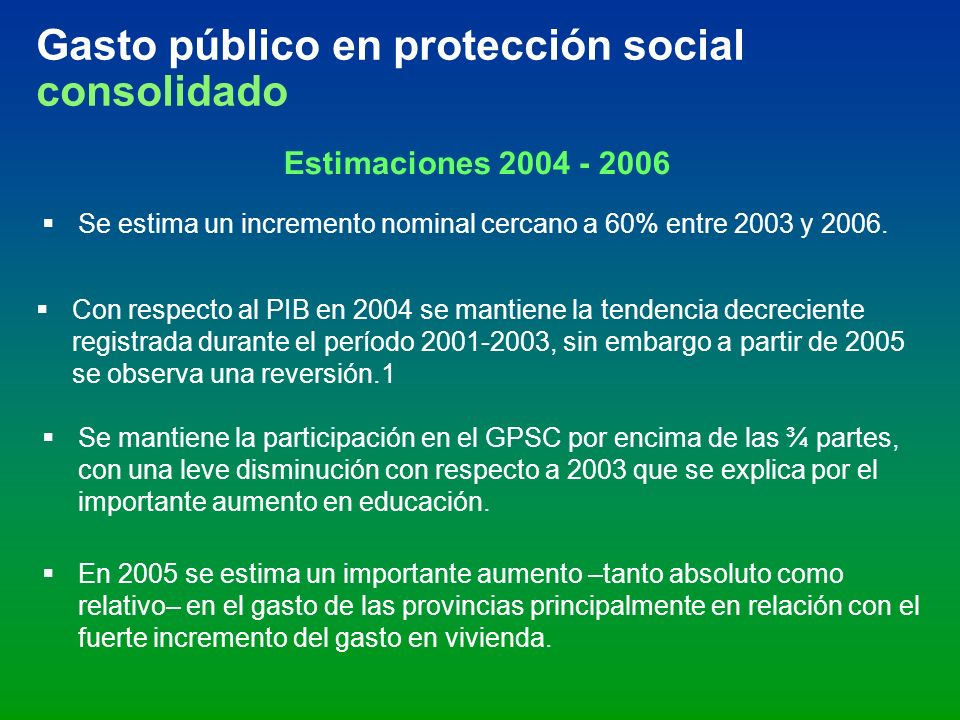Gasto público en protección social consolidado