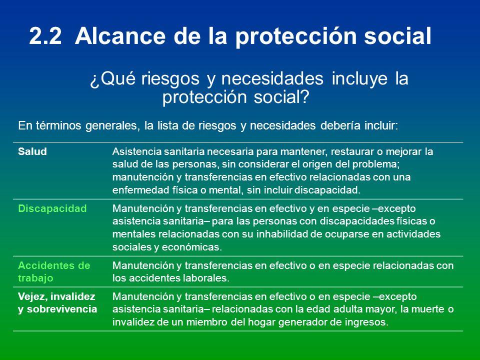 ¿Qué riesgos y necesidades incluye la protección social