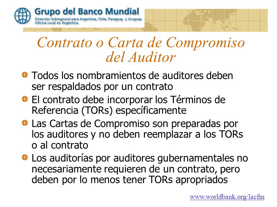 Contrato o Carta de Compromiso del Auditor