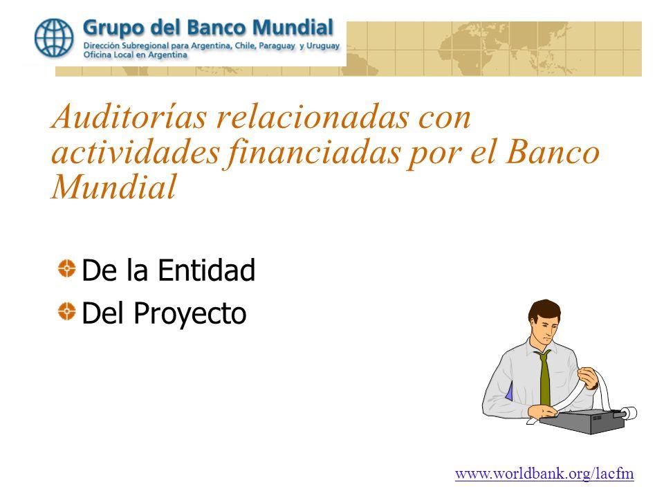 Auditorías relacionadas con actividades financiadas por el Banco Mundial