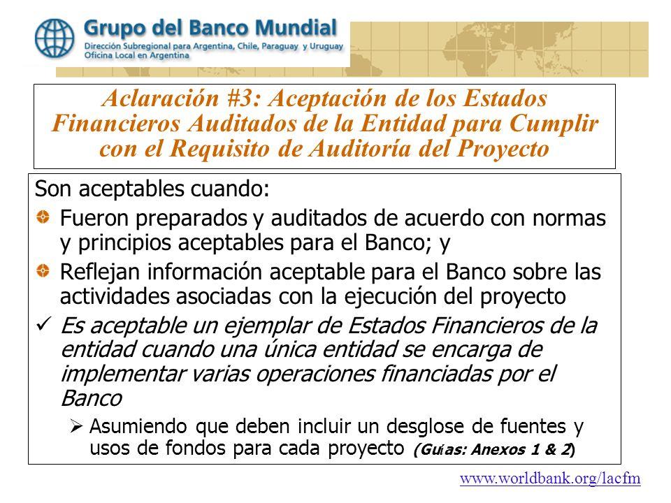 Aclaración #3: Aceptación de los Estados Financieros Auditados de la Entidad para Cumplir con el Requisito de Auditoría del Proyecto