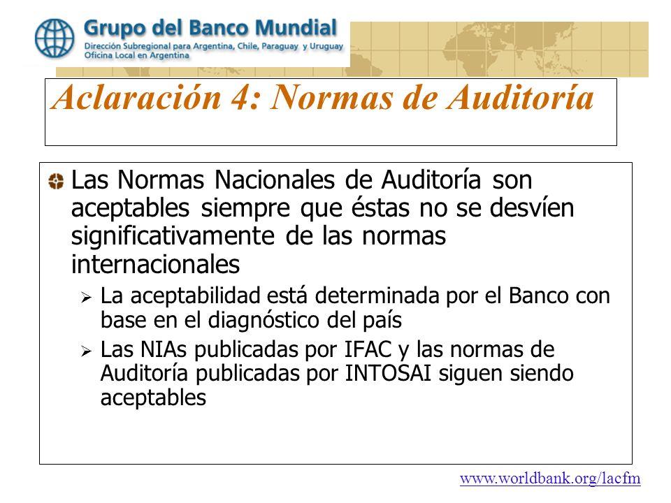 Aclaración 4: Normas de Auditoría