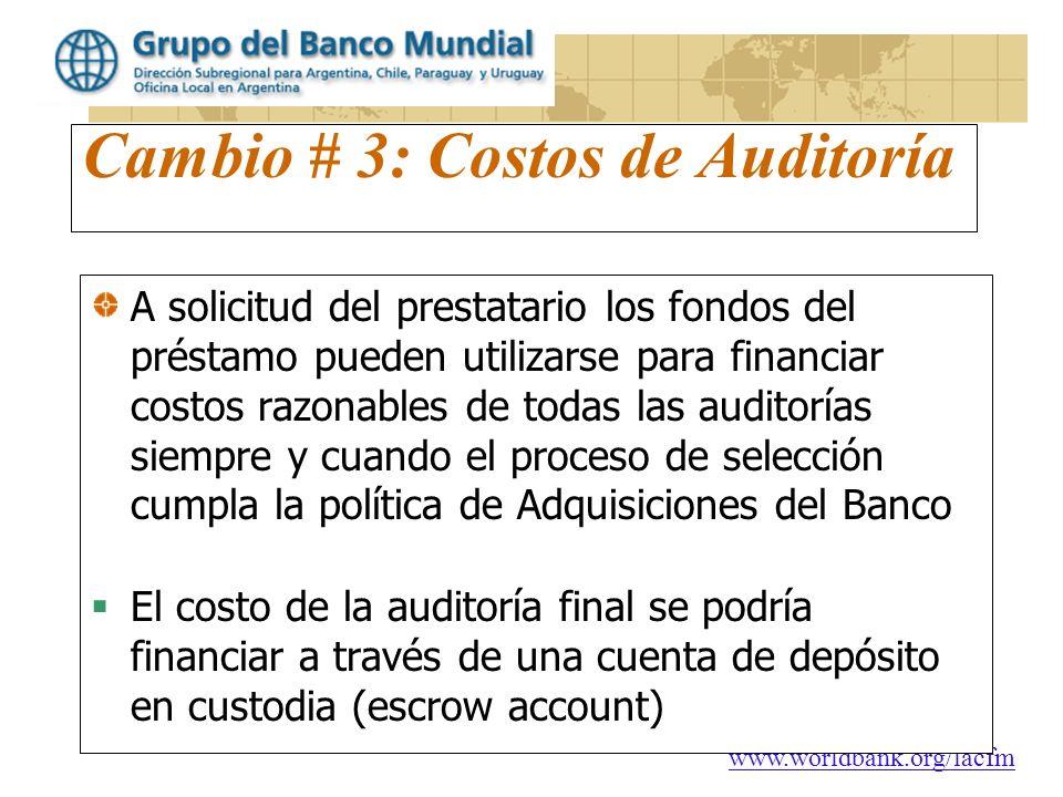 Cambio # 3: Costos de Auditoría