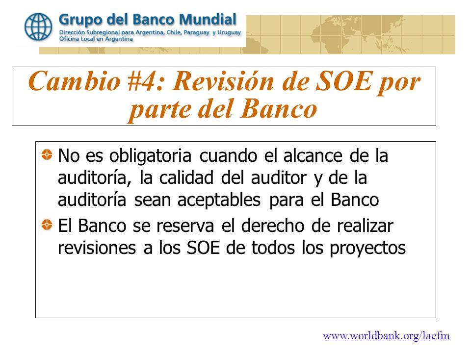 Cambio #4: Revisión de SOE por parte del Banco