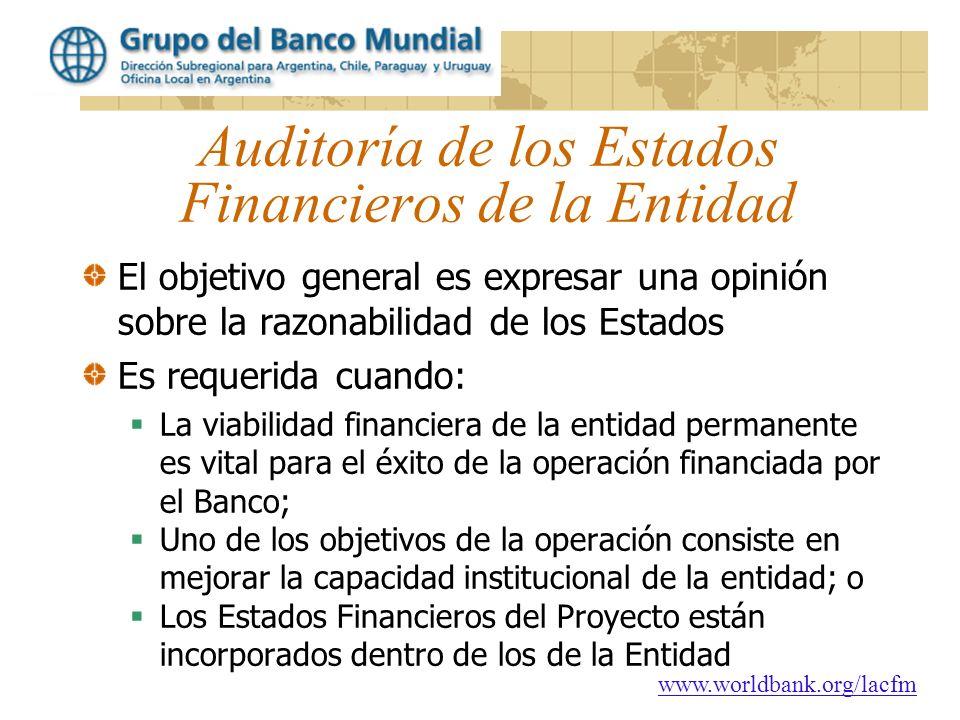Auditoría de los Estados Financieros de la Entidad