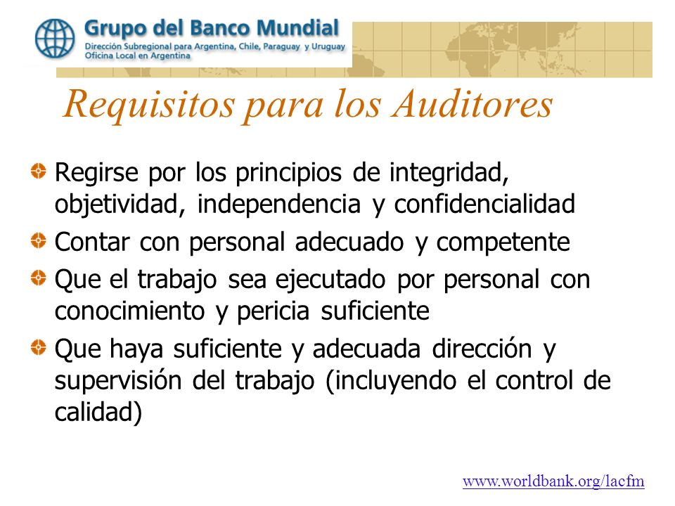 Requisitos para los Auditores
