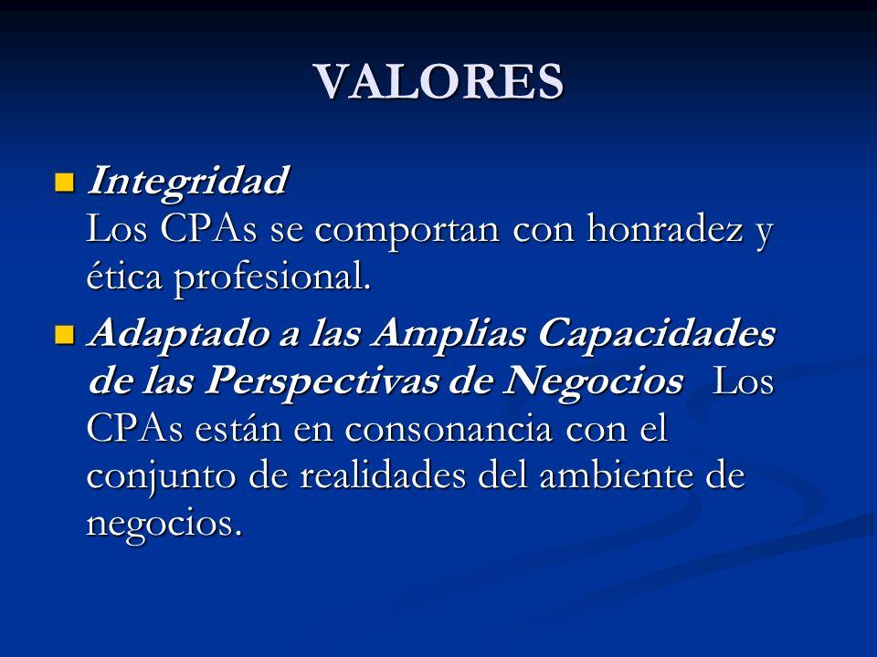 VALORES Integridad Los CPAs se comportan con honradez y ética profesional.