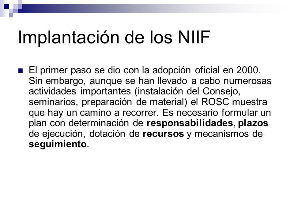 Implantación de los NIIF
