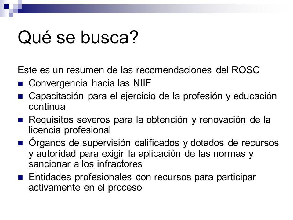 Qué se busca Este es un resumen de las recomendaciones del ROSC