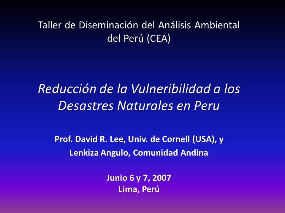 Reducción de la Vulneribilidad a los Desastres Naturales en Peru
