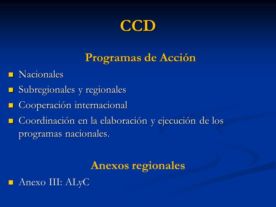 CCD Programas de Acción Anexos regionales Nacionales