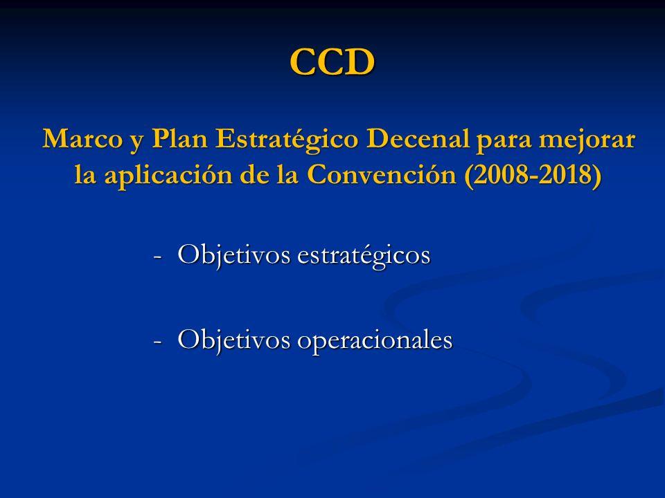 CCDMarco y Plan Estratégico Decenal para mejorar la aplicación de la Convención (2008-2018) - Objetivos estratégicos.