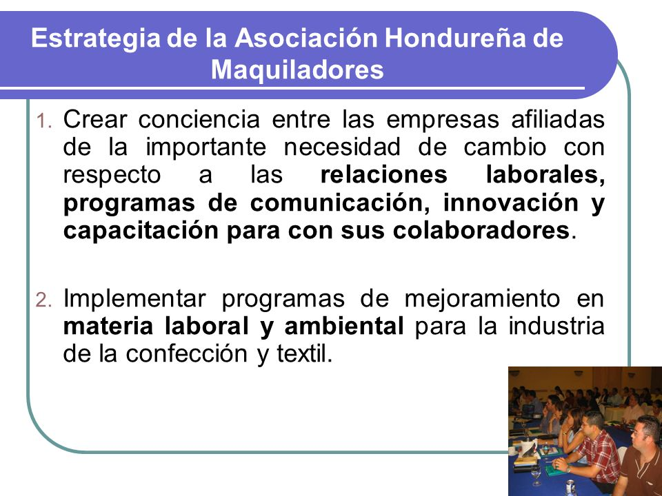 Estrategia de la Asociación Hondureña de Maquiladores