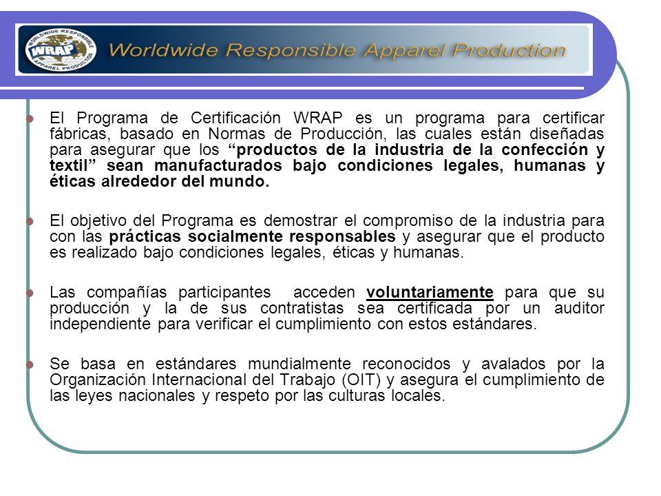 El Programa de Certificación WRAP es un programa para certificar fábricas, basado en Normas de Producción, las cuales están diseñadas para asegurar que los productos de la industria de la confección y textil sean manufacturados bajo condiciones legales, humanas y éticas alrededor del mundo.