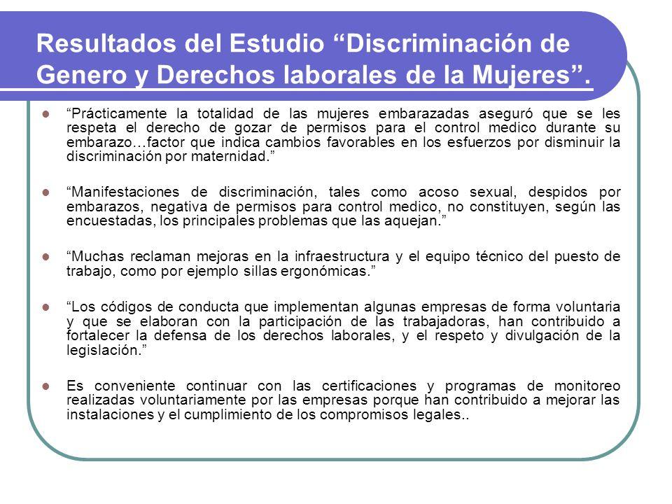 Resultados del Estudio Discriminación de Genero y Derechos laborales de la Mujeres .