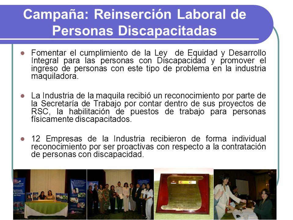 Campaña: Reinserción Laboral de Personas Discapacitadas