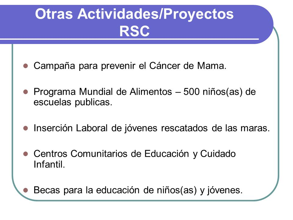 Otras Actividades/Proyectos RSC