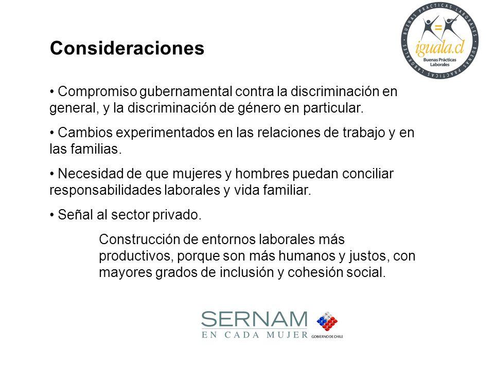 Consideraciones Compromiso gubernamental contra la discriminación en general, y la discriminación de género en particular.