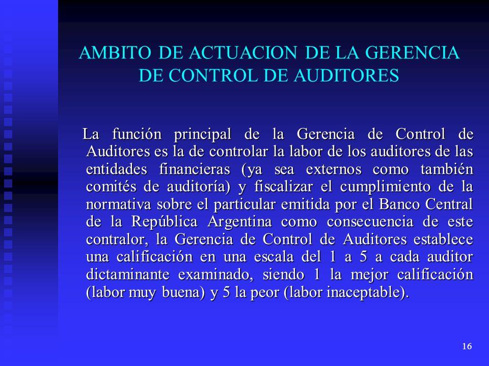 AMBITO DE ACTUACION DE LA GERENCIA DE CONTROL DE AUDITORES