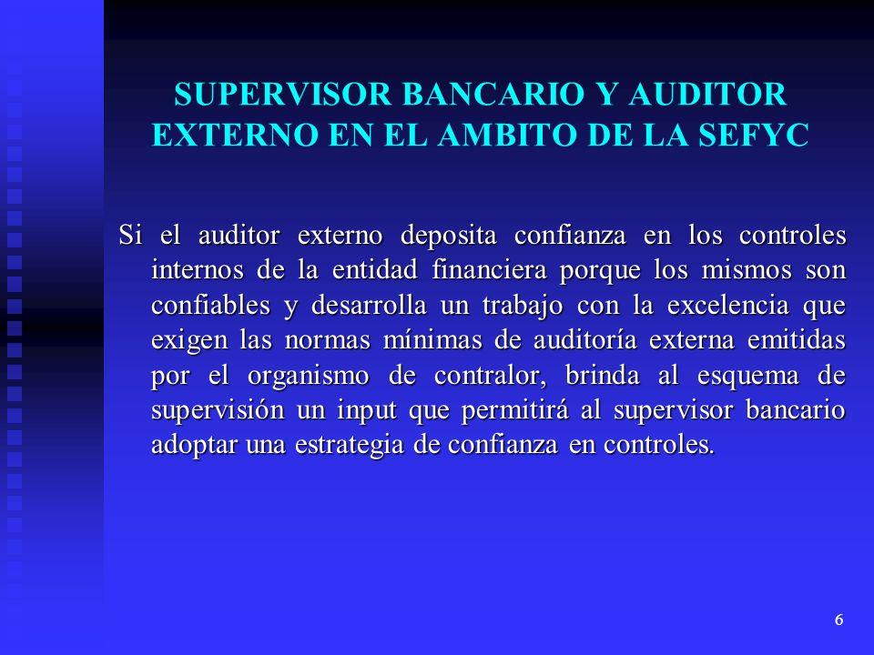 SUPERVISOR BANCARIO Y AUDITOR EXTERNO EN EL AMBITO DE LA SEFYC
