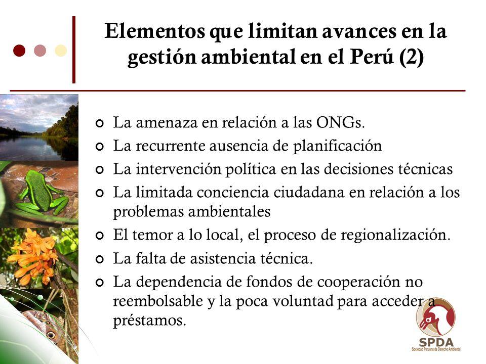 Elementos que limitan avances en la gestión ambiental en el Perú (2)