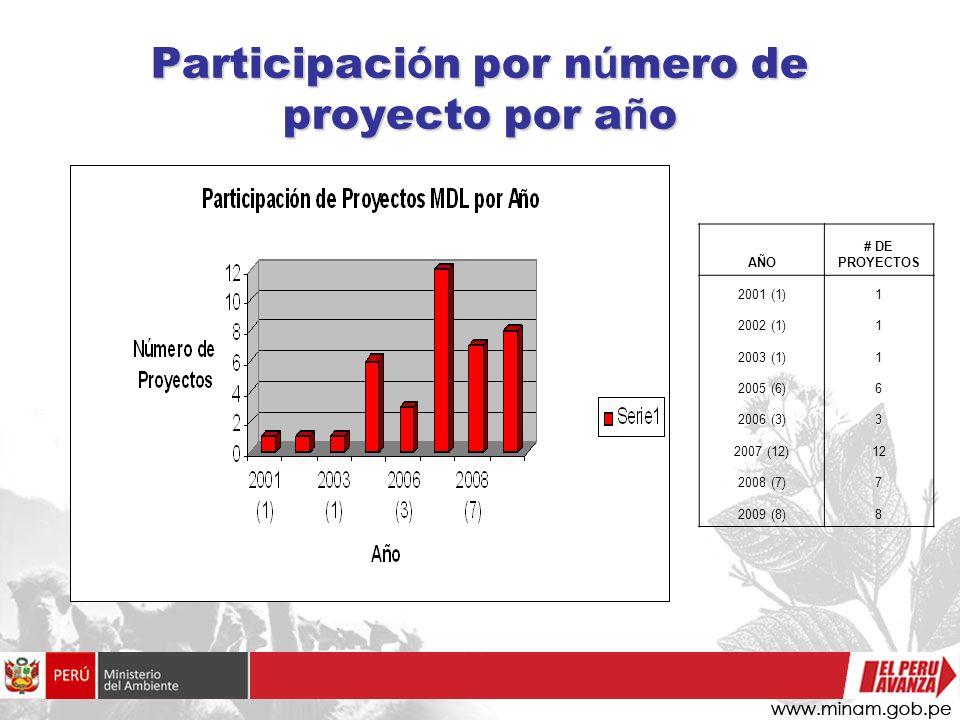 Participación por número de proyecto por año