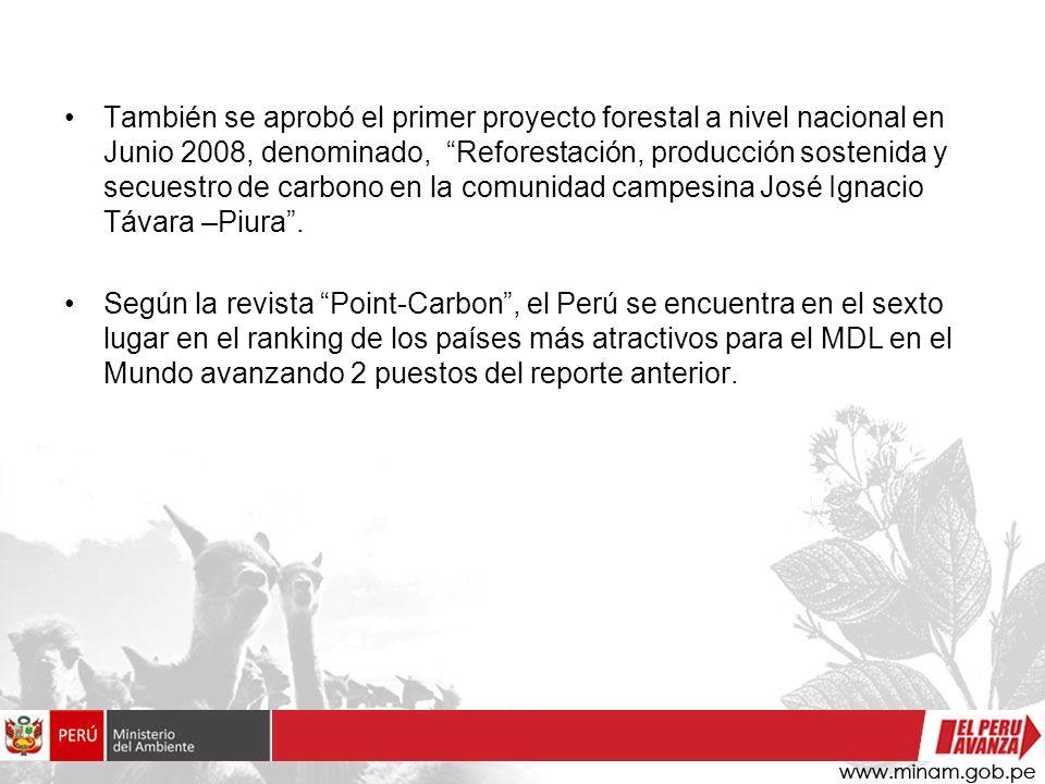 También se aprobó el primer proyecto forestal a nivel nacional en Junio 2008, denominado, Reforestación, producción sostenida y secuestro de carbono en la comunidad campesina José Ignacio Távara –Piura .