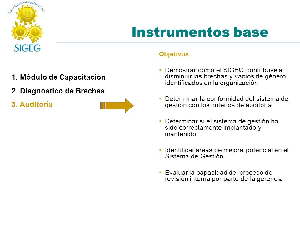 Instrumentos base 1. Módulo de Capacitación 2. Diagnóstico de Brechas