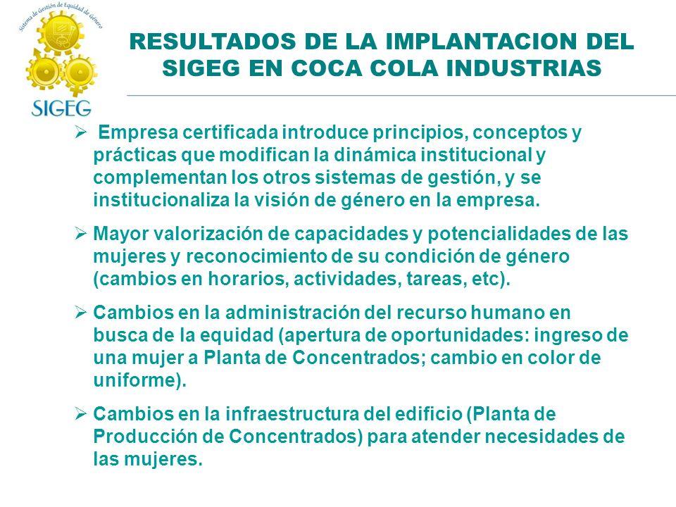 RESULTADOS DE LA IMPLANTACION DEL SIGEG EN COCA COLA INDUSTRIAS