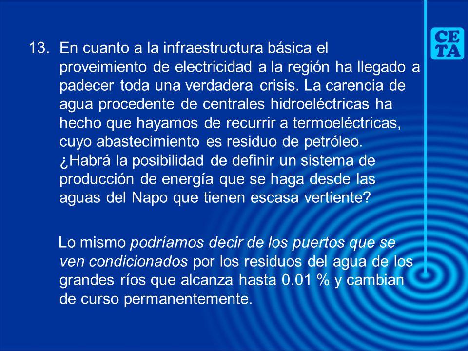 En cuanto a la infraestructura básica el proveimiento de electricidad a la región ha llegado a padecer toda una verdadera crisis. La carencia de agua procedente de centrales hidroeléctricas ha hecho que hayamos de recurrir a termoeléctricas, cuyo abastecimiento es residuo de petróleo. ¿Habrá la posibilidad de definir un sistema de producción de energía que se haga desde las aguas del Napo que tienen escasa vertiente