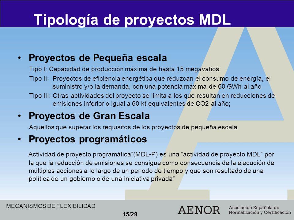 Tipología de proyectos MDL