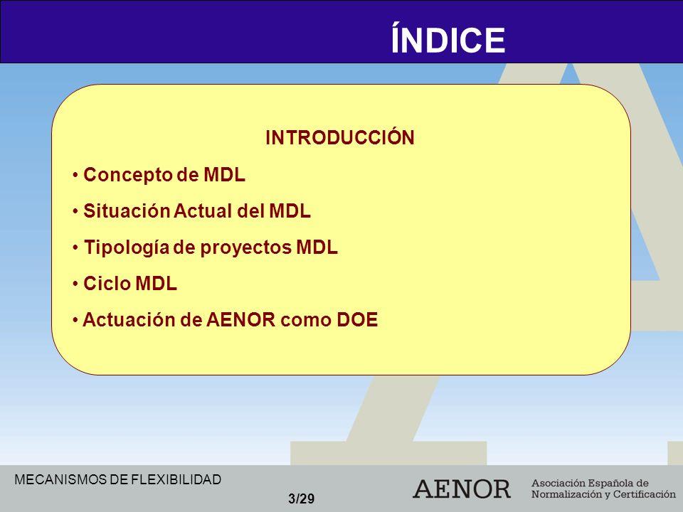 ÍNDICE INTRODUCCIÓN Concepto de MDL Situación Actual del MDL