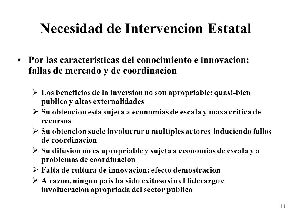 Necesidad de Intervencion Estatal