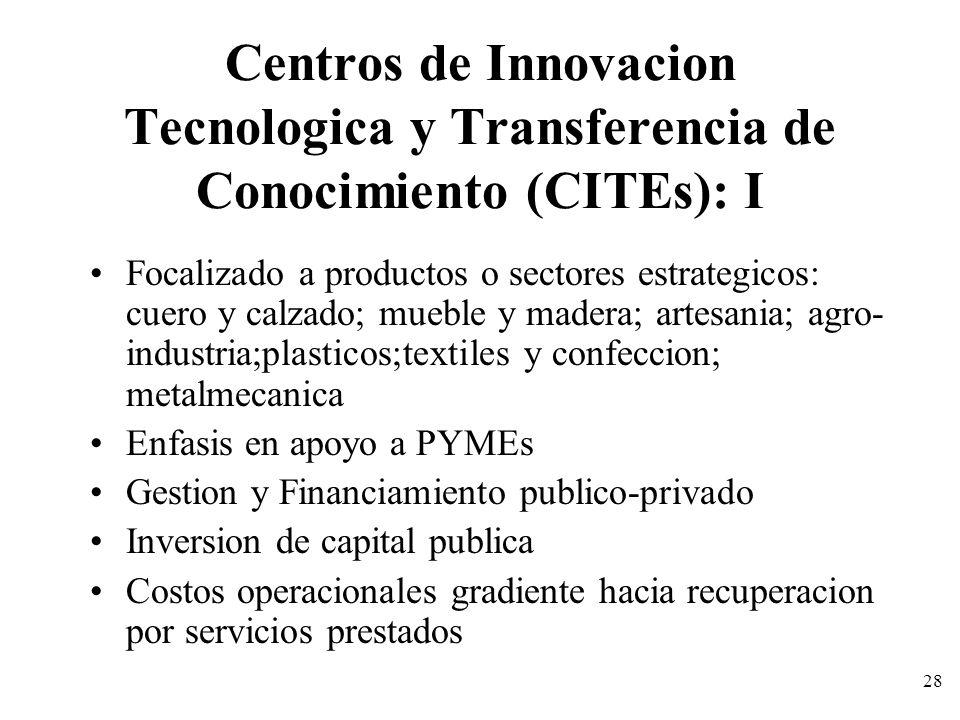 Centros de Innovacion Tecnologica y Transferencia de Conocimiento (CITEs): I