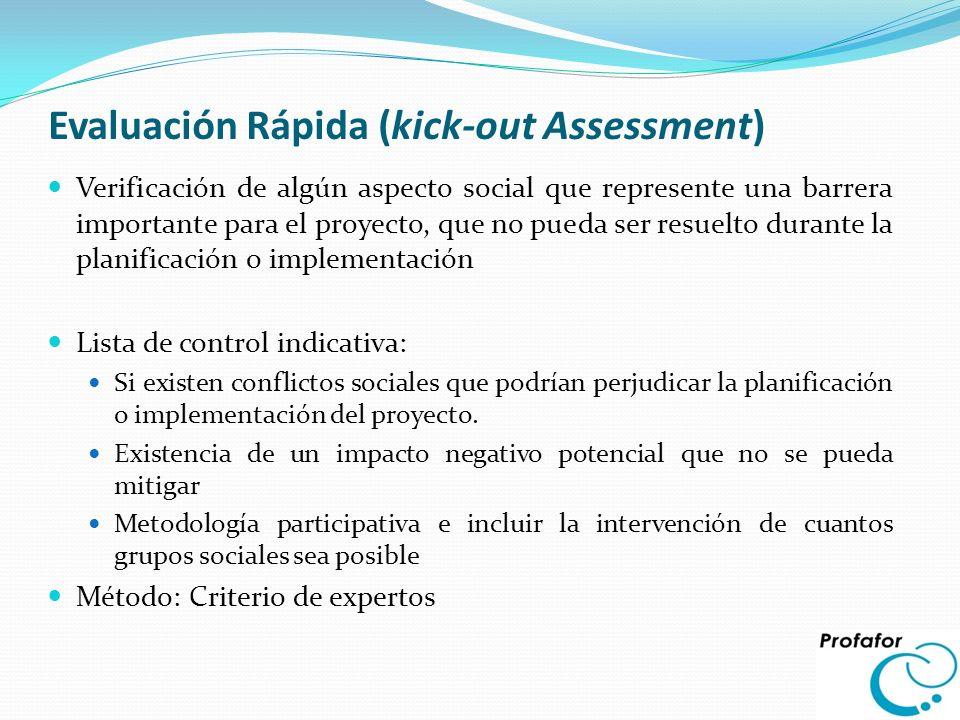 Evaluación Rápida (kick-out Assessment)